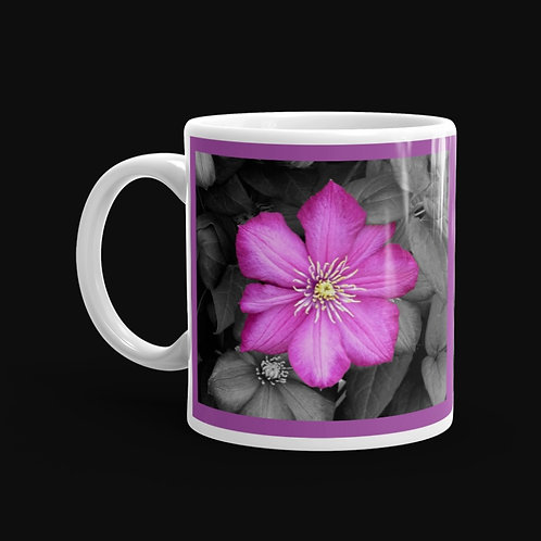 Pink Clematis on Black Leaves, 11 oz Ceramic Mug, Dishwasher and Microwave Sa