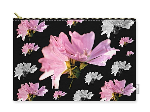 Pink and White Mallow Blossom Collage, Zip Carry Pouch
