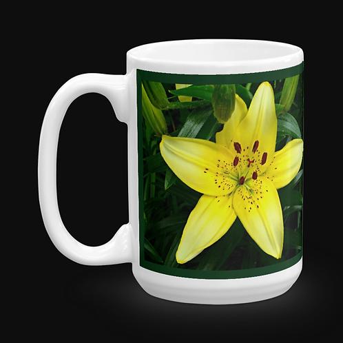 Yellow Asian Lily 15 oz Ceramic Mug, Dishwasher and Microwave Safe