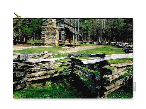Cades Cove Log Cabin Scene, Zip Carry Pouch