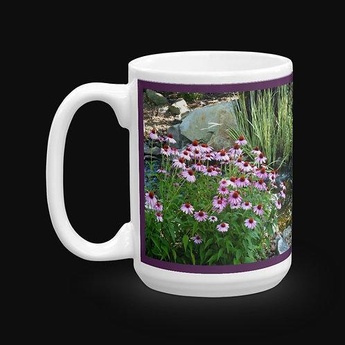 Garden Stream and Flowers, 15 oz Ceramic Mug, Dishwasher and Microwave Safe