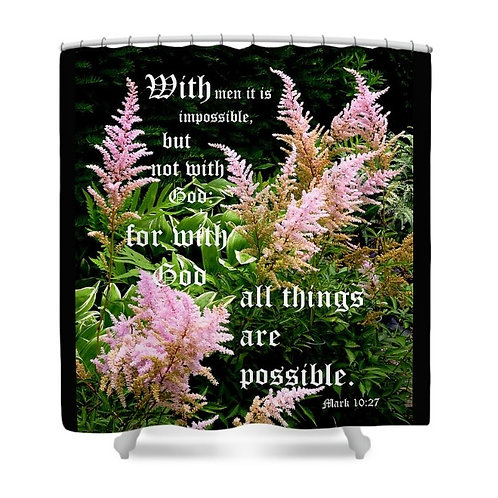 Astilbe Mark 10 vs 27 Floral Shower Curtain, 71 wide x 74 tall