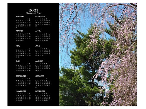 2021 Cherry and Pine Calendar, 8x10 One Page Calendar