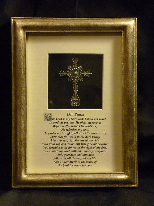 The 23rd Psalm, 3D Framed Wall Art with Cross