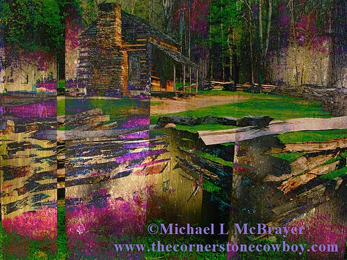Multicolor Surreal Log Cabin, Abstract Photography