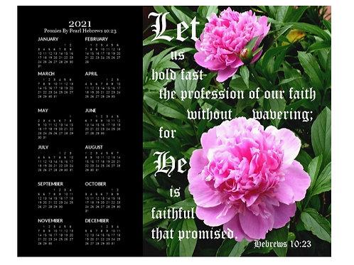 2021 Peonies by Pearl Hebrews 10 vs 23 Calendar, 8x10 One Page Calendar