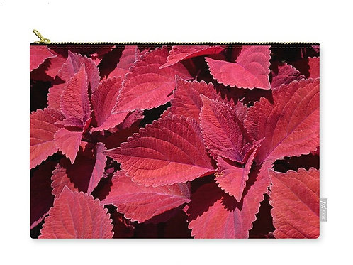 Red Leaf Coleus Close-up, Zip Carry Pouch