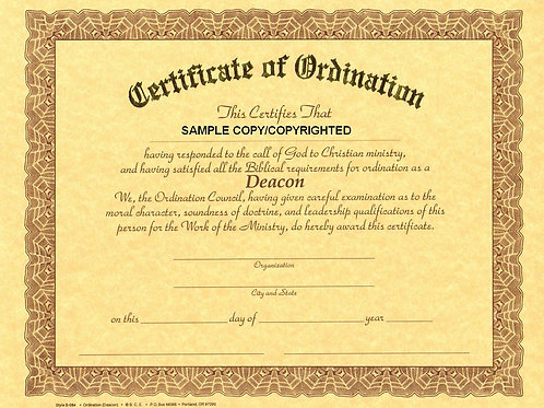 Certificate of Deacon Ordination, 8x10 Gold Stamped Certificate, 7 Pack