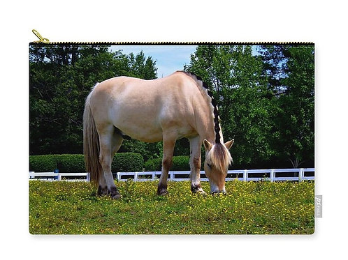 Norwegian Fjord Horse in Pasture, Zip Carry Pouch