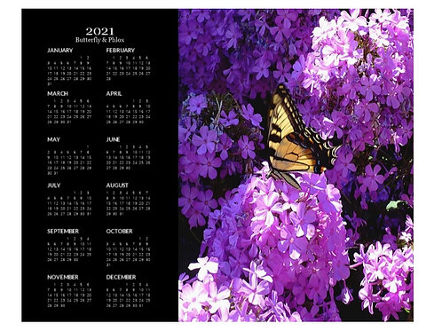 2021 Butterfly and Phlox Calendar, 8x10 One Page Calendar