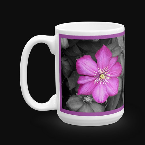 Pink Clematis on Black Leaves, 15 oz Ceramic Mug, Dishwasher and Microwave S