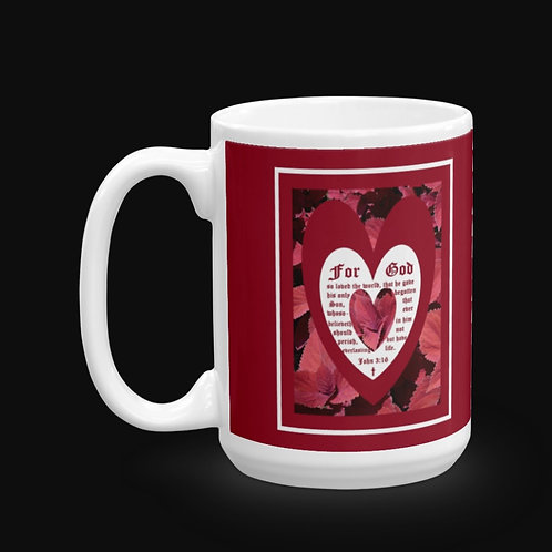 Red Coleus Leaves with John 3 vs 16, 15 oz Ceramic Mug, Dishwasher and Microwa