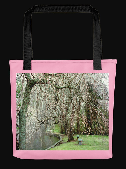 Cherry Trees beside Garden Lake, 15x15 Polyester Tote Bag