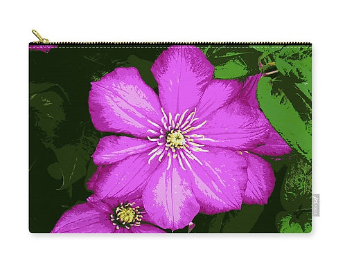 Close-up of Posterized Pink Clematis Flowers, Zip Carry Pouch