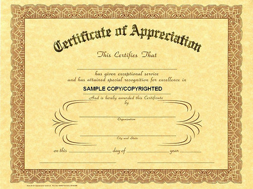 Certificate of Appreciation, 8x10 Gold Stamped Certificate, 12 Pack
