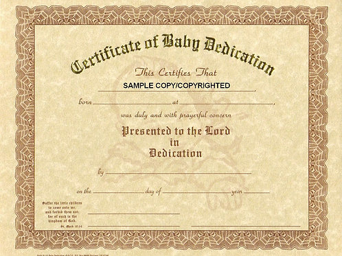 Certificate of Baby Dedication, 8x10 Gold Stamped Certificate