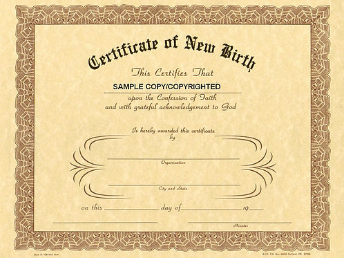 Certificate of New Birth, 8x10 Gold Stamped Certificate, 12 Pack