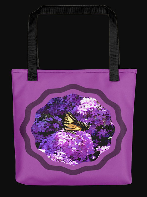 Swallowtail Butterfly on Garden Phlox, 15x15 Polyester Tote Bag