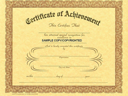 Certificate of Achievement, 8x10 Gold Stamped Certificate, 12 Pack