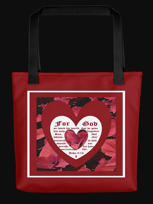Red Leaf Coleus Close-up with John 3 vs 16, 15x15 Polyester Tote Bag
