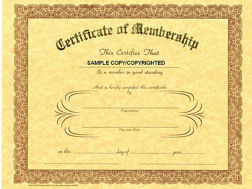 Certificate of Membership, 8x10 Gold Stamped Certificate, 12 Pack