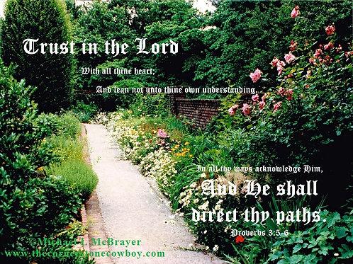 Gravel Garden Walkway with Proverbs 3 vs 5 Ed B, Scripture Photo