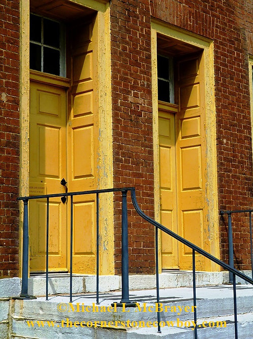 Yellow Double Doors at Shaker Village, Historic Structure Photography