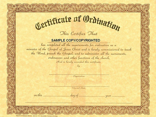 Certificate of Minister Ordination, 8x10 Gold Stamped Certificate, Multi Pack