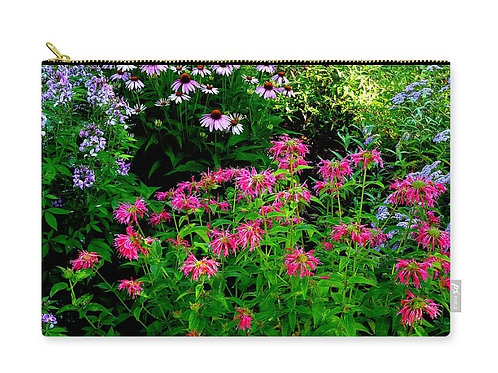 Red Bee Balm with Purple Coneflowers, Zip Carry Pouch