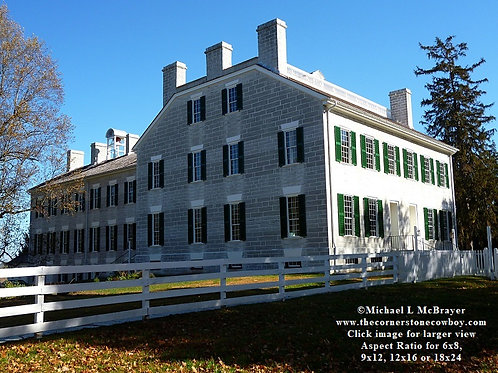 Shaker Village Centre Family Dwelling in Morning Light, Historic Structure Photo