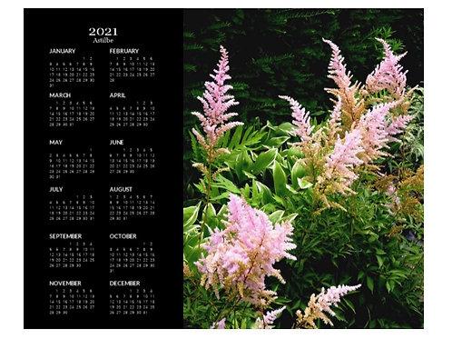 2021 Astilbe Flowers Calendar, 8x10 One Page Calendar