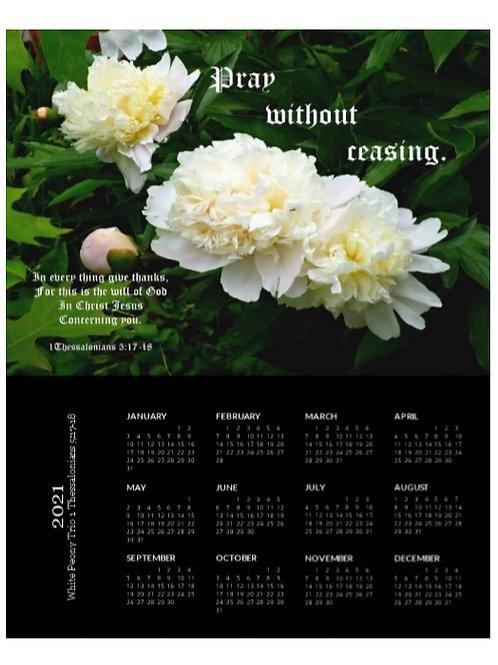 2021 White Peony Trio Scripture Calendar, 8x10 One Page Calendar