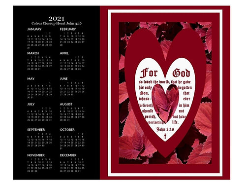 2021 Coleus Close-up Heart with John 3 vs 16 Calendar, 8x10 One Page Calendar