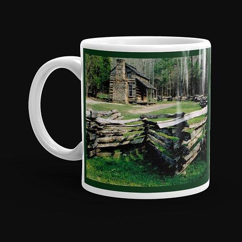 Log Cabin at Cades Cove 11 oz Ceramic Mug, Dishwasher and Microwave Safe
