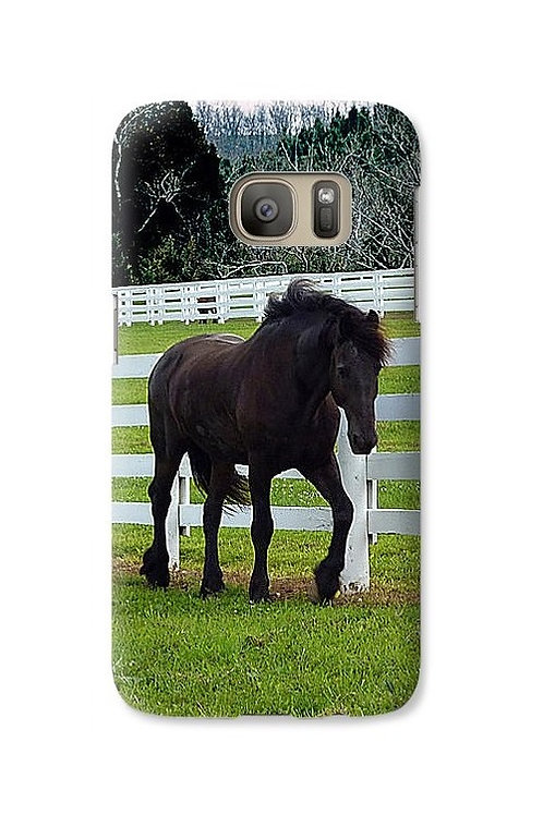 Friesian Horse in Pasture, Galaxy S7 Slim Case