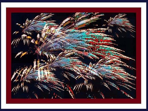 Fireworks Over Mt. Olivet Abstract w Trim, Greeting Card, Envelope