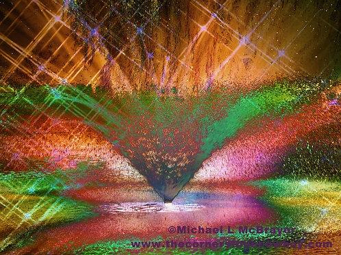 Surreal Fountain Spray, Abstract Multicolor Photo