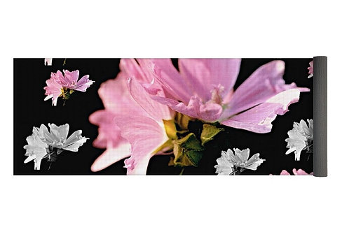 Pink and White Mallow Blossom Collage, 24x72 Yoga Mat