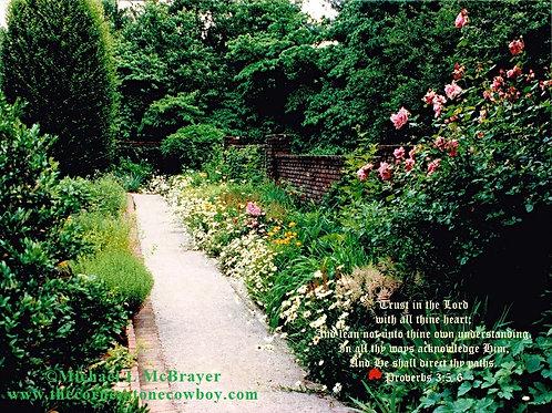 Gravel Garden Walkway Proverbs 3 vs 5 to 6 Ed A, Scripture Photo