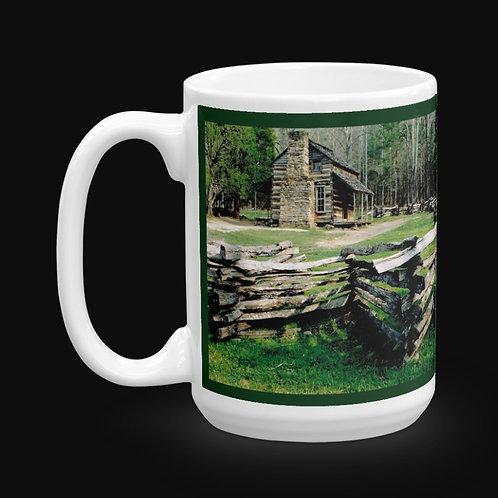 Log Cabin at Cades Cove 15 oz Ceramic Mug, Dishwasher and Microwave Safe