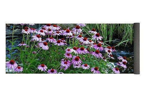 Garden Stream and Purple Coneflowers, 24x72 Yoga Mat