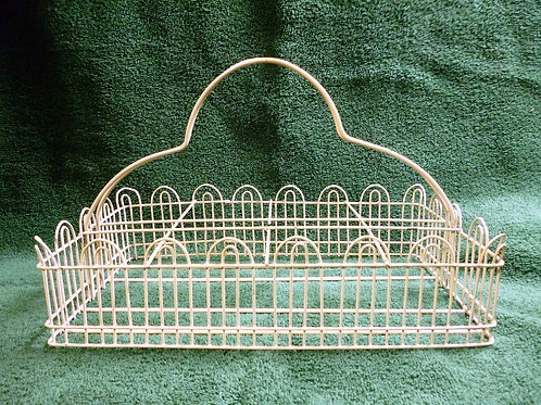 Vintage White Wire Basket Jar Holder with Handle