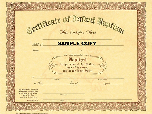 Certificate of Infant Baptism, 8x10 Gold Stamped Certificate, 12 Pack