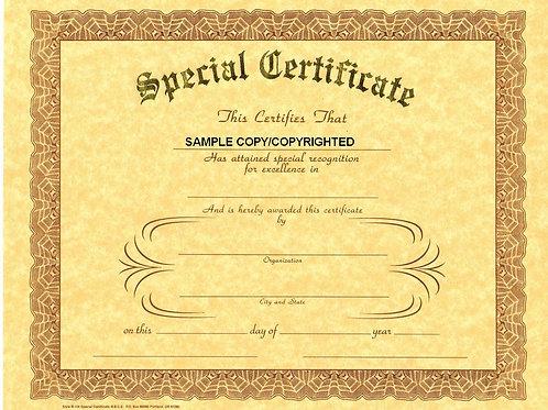 Special Certificate, 8x10 Gold Stamped Certificate, Multi Packs