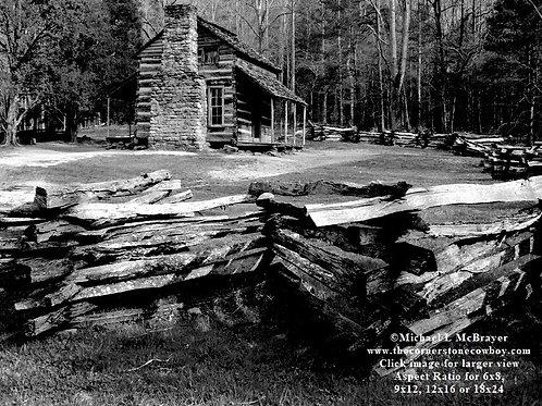 Cades Cove Log Cabin Scene, Black and White Historic Structure Photo
