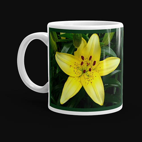 Yellow Asian Lily 11 oz Ceramic Mug, Dishwasher and Microwave Safe