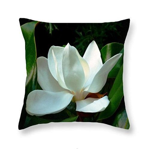 White Magnolia Bloom, Square Accent Pillow