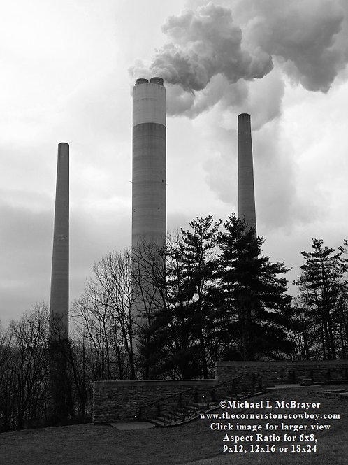 Three Industrial Smokestacks, Black and White Architectural Photo