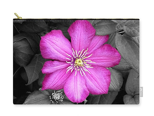 Dark Pink Clematis Bloom on Black Leaves, Zip Carry Pouch