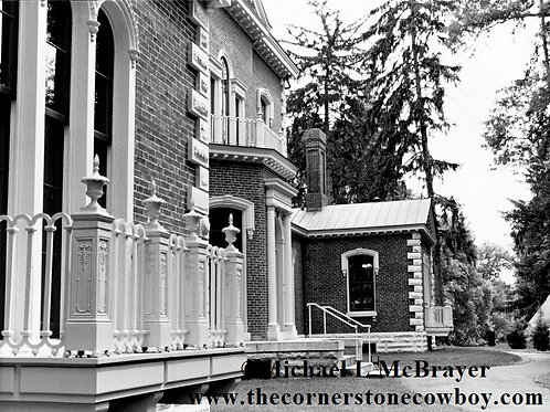 Ashland House Left Corner, Henry Clay Estate Black and White Photo